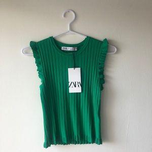 Zara Green Ribbed Knit sleeveless top